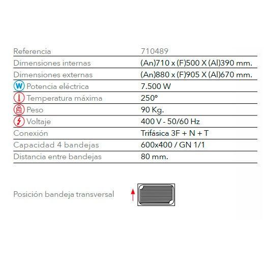 Características horno eléctrico panadería STB 604 M FM Industrial