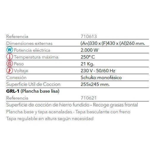 Características Grill GR 1 FM