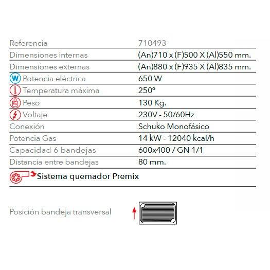 Características horno panadería de gas STB 606 M Gas FM Industrial