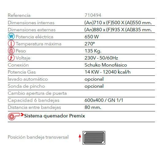 Características horno panadería de gas STB 606 V7 Gas FM Industrial