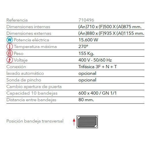 Características horno panadería de gas STB 610 V7 FM Industrial