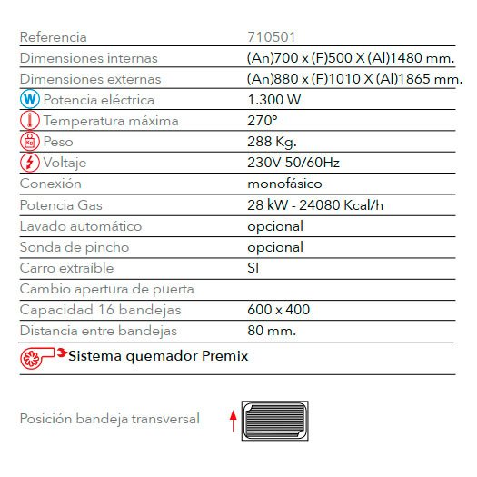 Características horno de panadería con gas STB 616 V7 T Gas FM Industrial