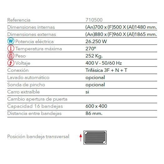 Características horno de panadería elétrico STB 616 V7 T FM Industrial