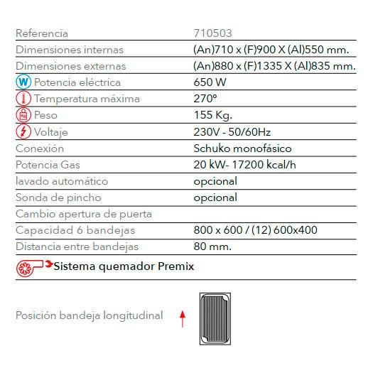 Características horno panadería gas STB6/86 V7 gas FM Industrial