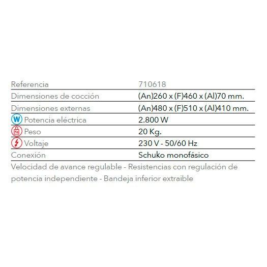 Características Tostador Buffet TTV 2400 FM